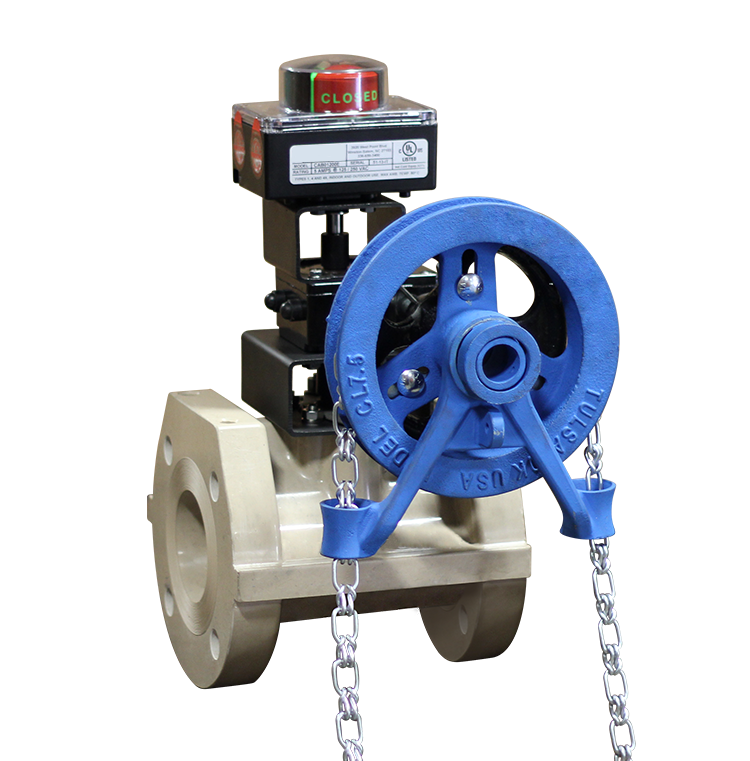 Chain wheel operated ball valve w limit switch max air