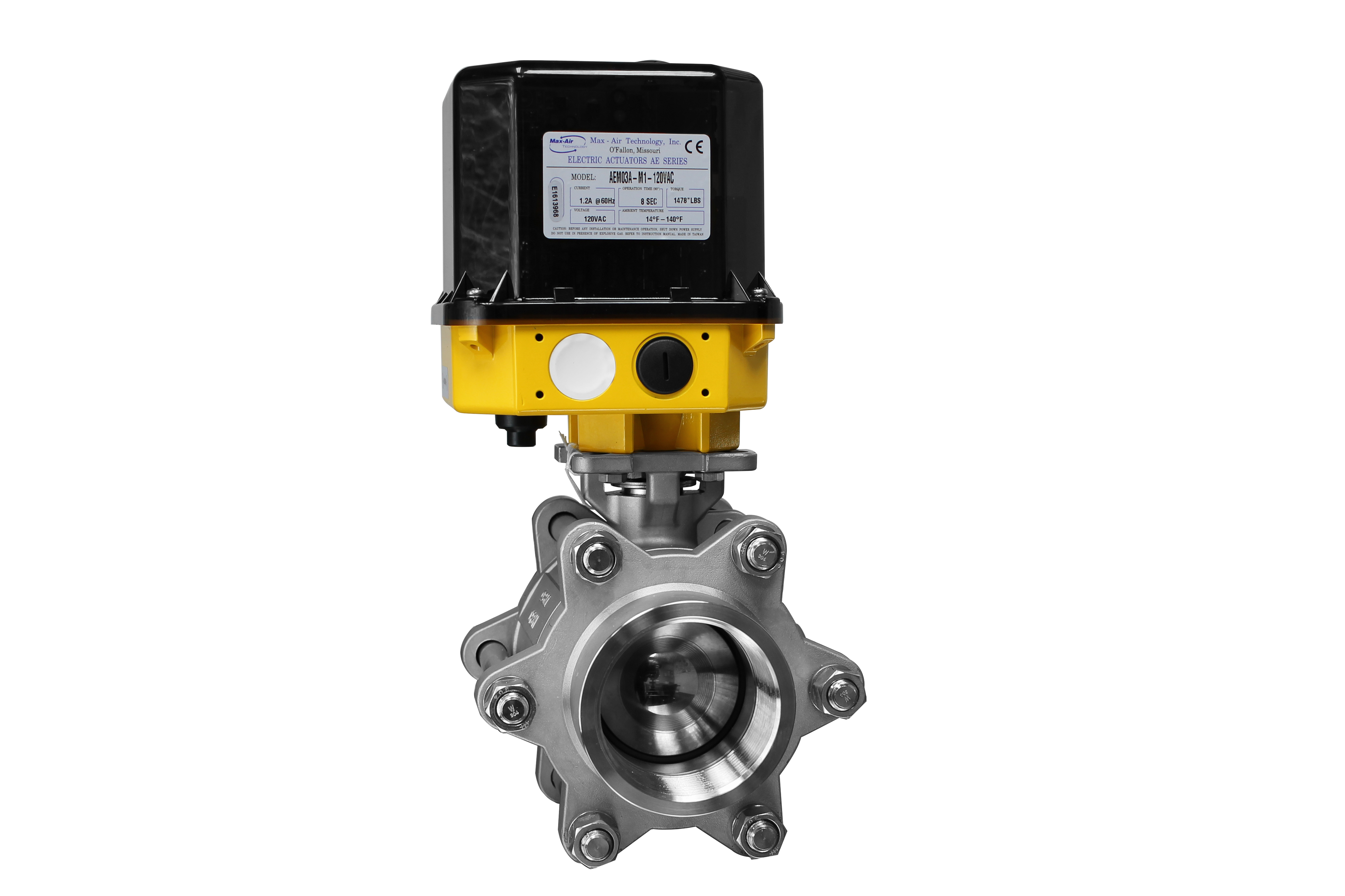 Modulating electric 3 ball valve max air technology for Motorized flow control valve